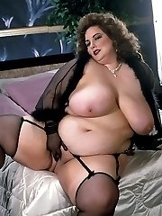 big hot brunette in sexy black lingerie