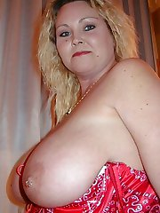 Plump Texas blonde in red thigh high stockings