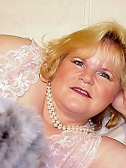 Blonde mature BBW in lace and pantyhose