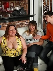 Cock eating fat girls at this party are getting busy with the horny young men that love BBWs