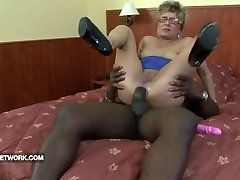 Grandma caught masturbating anal fucked by black spunk-pump hard interracial