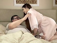 Spanish pallid all-natural GF Diana Rius rides older dude's strong cock