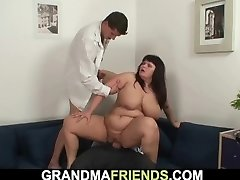 Chubby huge boobs mom three-way orgy