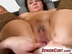 Fat dame Eva aged muff fingered and toyed pov zoom