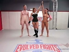 Mixed Grappling with Cream pie Prize ending Wrestlers penetrate