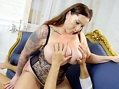 Awesome super-sexy BBW Laura Orsolya senses good about riding strong cock
