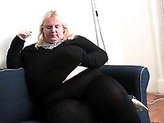 Xxl Blonde Woman Masturbates At Home