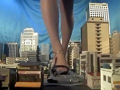 Hefty japanese giantess, barefoot,sandals,many cars punched each step