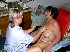 OldNanny Fat grandma, hairy pussy and young girl with monstrous tit