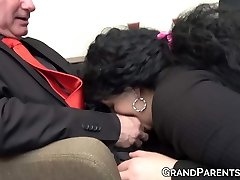 Ginger maid fucks with mature chief and his obese wife