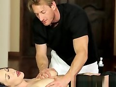 Buxomy rubdown babe pussyfucked by fat cock