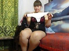 urinating in panties, fat Russian woman)
