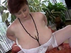 Meaty mature with huge juggs strips and maturba