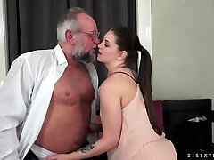 Angelina Brill fucks an elderly gentleman