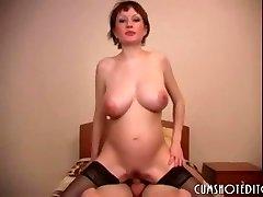 Preggo Russian Amateur Slut Eating Cum