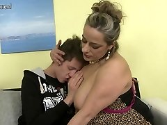 Naughty mature mummy banging not her son