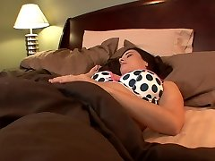 Huge-chested college babes lick each other's holes in bed