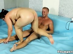 Curvy bbw wrestling and sucking jizz-shotgun