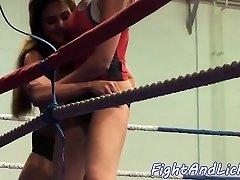 Pussy loving stunner enjoys naked wrestling