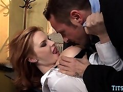 Redhead Babe gets Spear at Office