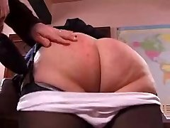 Naughty granny gets her rump spanked hard