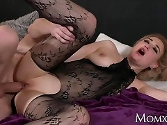 MOM Wet big hooters Cougar in bodystocking squirting and rimming