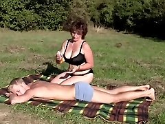 Brunette BBW-Milf Outdoors by Young Fellow