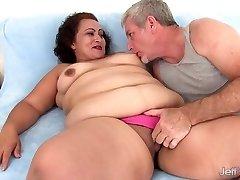 Fat woman takes fat rod
