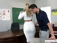 Immensely sexy large racked blonde lecturer was fucked right on the table