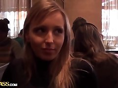 Blond honey Stacy does blowjob in toilet