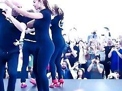 Beautiful girl dancing in stretch pants