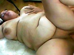 Huge girl poked on the floor