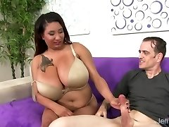 Obese Danny Lynn Shows Off Her Meaty Melons and Gets Her Pussy Drilled