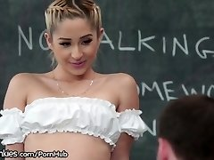 Slutty Teenie Schoolgirl Horny in Detention