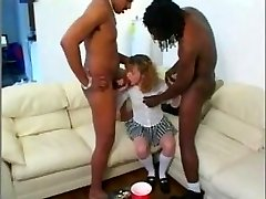 Schoolgirl Sucks Good-sized Black Cocks
