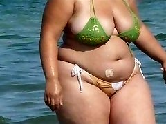BBW Bikini - Candid ass - Beach Rump voyeur - Spying Butt