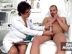 Czech nurse lady Marta older with youthful handjob