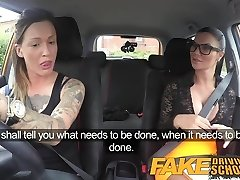 Fake Driving School Sexy strap on fun for fresh meaty tits drive