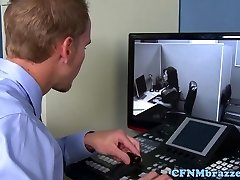 Huge-chested office cfnm stunners cockriding in trio