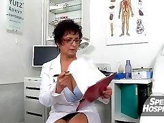 Hot cougar Maya cum on tits after cfnm hand-job