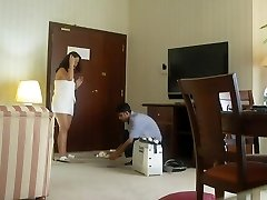 Half bare Arab cockslut wife teases another hotel worker