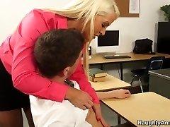 Blonde teacher Alura Jenson sates horny schoolgirl Bruce