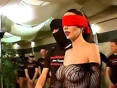 German Goo Girls - Blindfolded Cougar bukkake gangbang