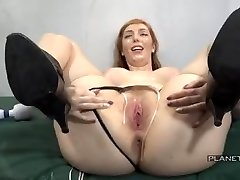 Bukkake - Slut with gigantic tits in american prison mass ejaculation