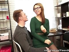 Sex with cumshot on glasses