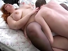 redhead bbw mom and her sonnie on sofa