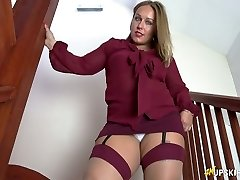 All alone lustful biotch Ashley Rider spreads her own pussy a bit