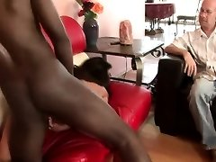 Lewd husband watches a black bull roughly fucking his stacked wife