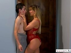 Quite bootyful sexpot Cherie Deville gets bent over and pounded doggy