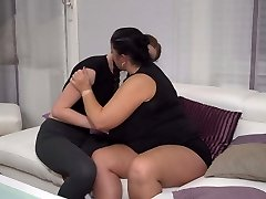 BIG mature mother Abby fucks diminutive lesbo girl Leona